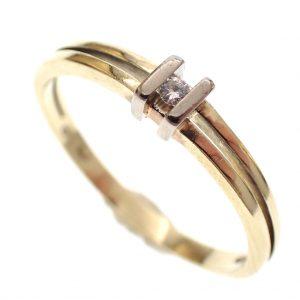 gouden dames ring met briljantje